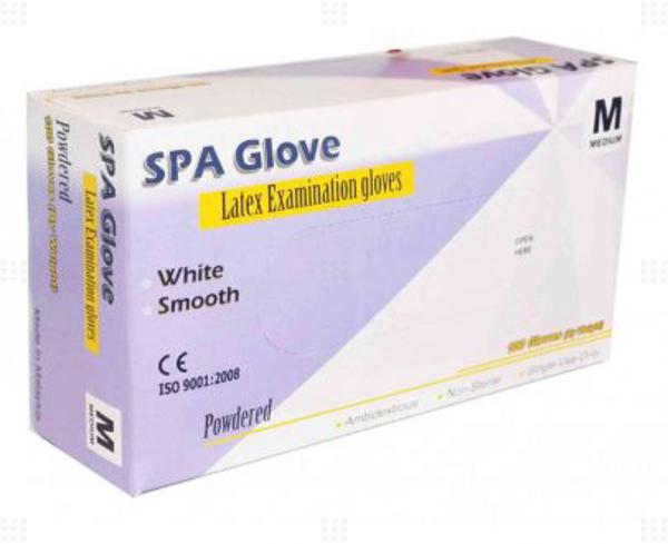 تصویر دستکش لاتکس کم پودر SPA مالزی بستهای 100 عددی