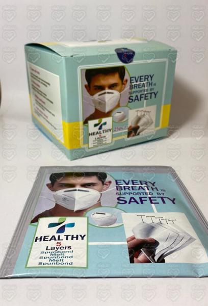 تصویر ماسک KN95 برند HEALTHY بسته 25 عددی